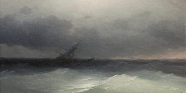 Айвазовский. Корабль в бурю. Х.М. 1876 г. 99,5х127 см. 1